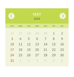 Calendar monthly may 2015 in flat design vector