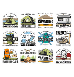 camp tent hiking boots tourist backpack skis vector image