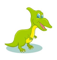 cartoon cute little badinosaur colorful vector image