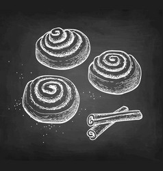 chalk sketch cinnamon rolls vector image