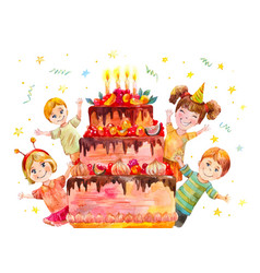 Children party at birthday a classmate vector