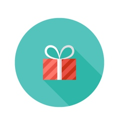 Christmas stripped present box flat icon vector