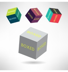 Colorful box icons set with boxed labels Shipping vector image