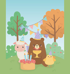 cute bear teddy and sheep with chick in birthday vector image