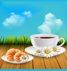 Daisy realistic breakfast composition vector