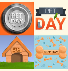 day pet banner set cartoon style vector image
