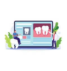 Dentist online consultation concept vector