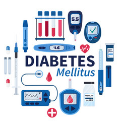 diabetes flat infographic elements set in vector image