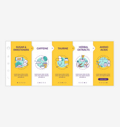 Energy drinks components onboarding template vector
