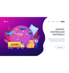 Export control concept landing page vector