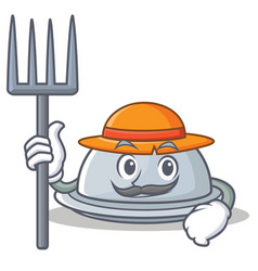 Farmer tray character cartoon style vector