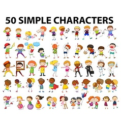 Fifty simple character doing different activities vector