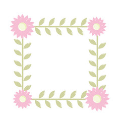 floral frame flowers decoration vector image