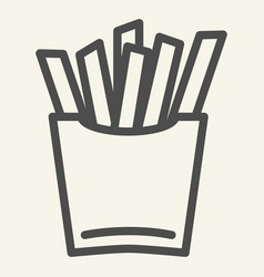 French fries line icon fast food vector