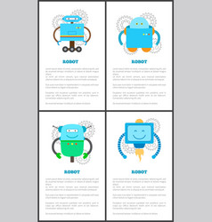 Friendly robots on wheels with long limbs set vector