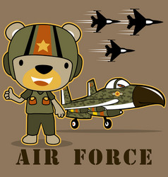 Funny bear jet pilot cartoon vector