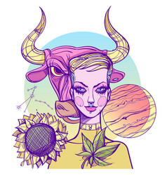 Girl symbolizes the zodiac sign taurus pastel vector