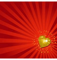 gold Valentine's heart background vector image