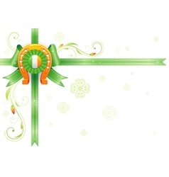 Golden lucky horseshoe corner Ribbon bow vector