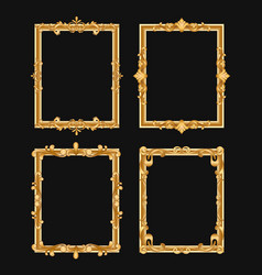 Golden vintage decorative frames set vector