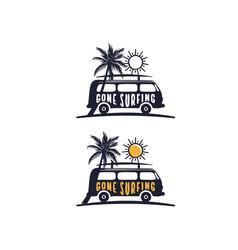 gone surfing slogan t shirt design t shirt vector image