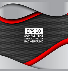 Gray and red wave abstract background with copy vector