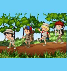 Groups of scouts exploreing outdoor vector