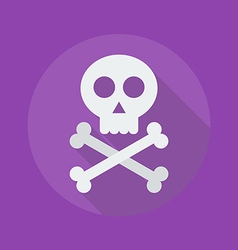 Halloween Flat Icon Crossbones and skull vector