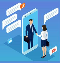 Hand shake through mobile screen vector