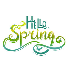 handwritten lettering hello spring with vector image
