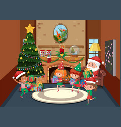 Happy children celebrate christmas vector