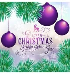 Holiday card with balls and Christmas tree vector image