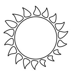 Hot sun icon outline style vector