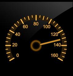 Illuminated car speedometer - night dashboard vector