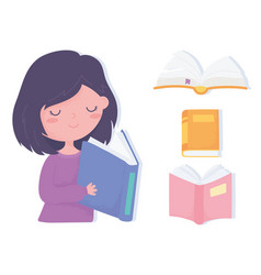 international literacy day cute little girl vector image