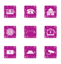 investment in it icons set grunge style vector image
