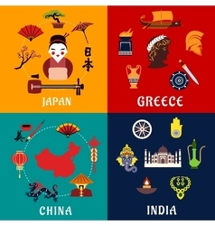 Japan China India and Greece travel icons vector image