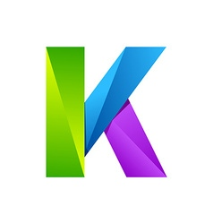 K letter one line colorful logo design template vector