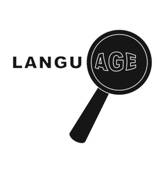 Learning foreign language icon in black style vector