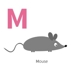 Letter m mouse zoo alphabet english abc vector