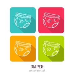 Line art baby diaper icon set in four color vector