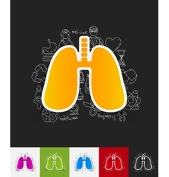 Lung paper sticker with hand drawn elements vector