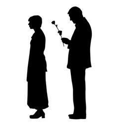 Man giving a rose to offended woman vector