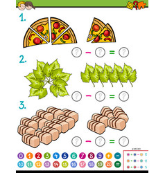 maths subtraction educational task for kids vector image