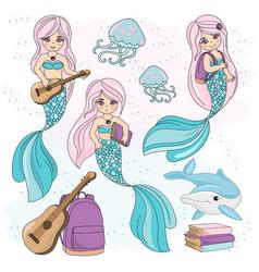 Mermaid kids school autumn sea underwater vector