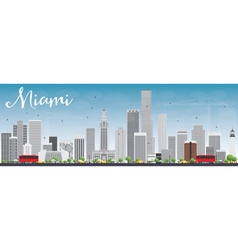 Miami Skyline with Gray Buildings and Blue Sky vector