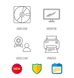 Monitor printer and video chat icons vector