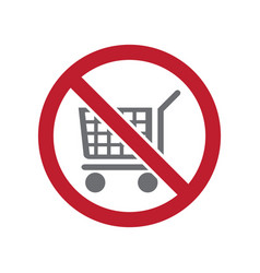 No cart allowed sign on white background for vector