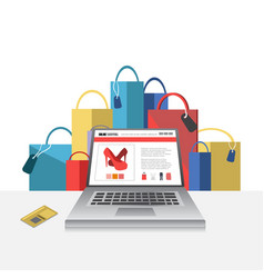 Online shopping concept with laptop vector