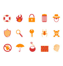 orange and red color security icons set vector image